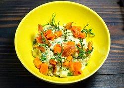 Fermented Barley, Potato Dumplings, Vintage Cheddar, Pickled Squash #ninearchesrestaurant