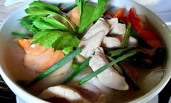 Tom Yum Chicken, clear soup (ต้มยำไก่น้ำใส) Spicy soup with lime, chili, lemon-grasses, galangal and lime leaf