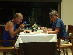 una noche magica, cena muys rica y variada