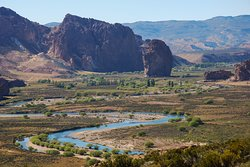 The meandering River Chubut leads to Piedra Parada