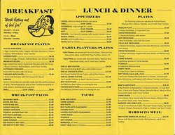 Mama Margie's menu, inside