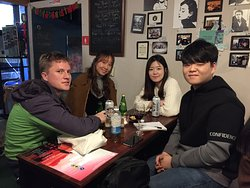 Meeting with the locals and traveler in a language exchange in Seoul