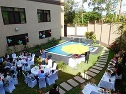 The pool area is large enough for parties
