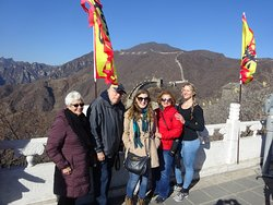 Enjoying the Great Wall on a beautiful day.
