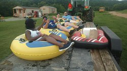 Camp Tomahawk Two-Mile Tube Float, tubing and camping group photo
