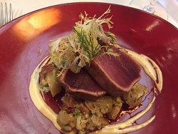 Ahi tuna over polenta