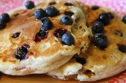 We have Mama Millers pancake recipe and filled with plump blueberries...that's a GOOOOD morning!