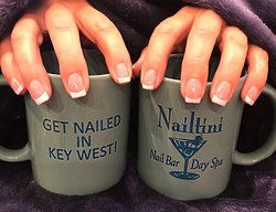 Nailtini specializes in sculpted pink and white acrylic