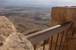 Ruins of a Roman encampment as seen from Masada.