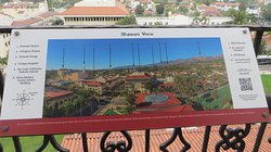 One of the signs provided at the top of the tower showing what you are viewing of Santa Barbara.