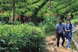 Raveen e Maria nella piantagione di the.