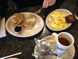Special that day, Cinnamon Roll French Toast served with 2 Eggs and Sausage or Bacon