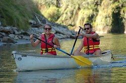Enjoying a lazy paddle down the Whanganui River