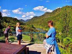 Looking up the Whanganui River from Bridge to Nowhere Lodge