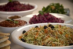 Israeli Cabbage salad - Cucumber, white cabbage, tomato, black olives dressed with olive oil, lemon juice and salt → We don't like to waste food so we always find a way to create new dishes from leftovers.