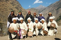 youth from Lata village in the traditional Jeetu Bagadwal folk dance dress, Nanda Devi National Park Trek