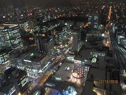 JRタワー展望室から見ています。手前が札幌駅、道路を挟んで中央のビルの7階にレセプションがあります。まさに、「駅近」です