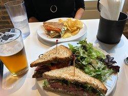 Roast Beef with Blue Cheese and a Mozzarella Tomato and Pesto panini.