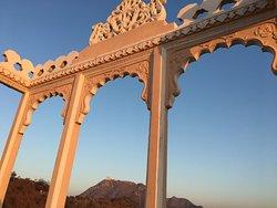 Roof top sunrise view, Sajjan garh in the frame.