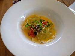 Crab & snapper filled ravioli with champagne butter sauce