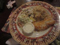 My 1/2 cajun broiled fish fry with garlic mashed potatoes.