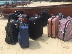 Luggage unloaded from the longboat on arrival