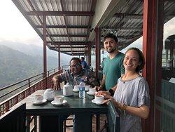 Drinking tea at a tea planation in Ella