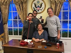 In the Oval-ish Office escape room...we escaped!