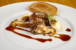 ROASTED GOOSE LIVER WITH SHALLOTS, whole grain mustard and mushrooms, roasted rye bread