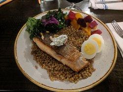 Salmon power bowl! Yum.