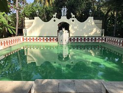 The pool is designed to look like the pool of a temple. Don't be fooled by the colour. It's green appearance is due to the colour of the tiles, to make it look more natural. It's spotlessly clean.