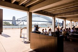 View of the Sydney Harbour Bridge from inside the restaurant