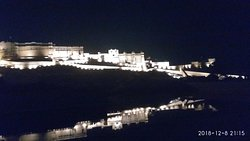 Night view of the Amber fort Jaipur Rajasthan India