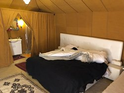 Inside the tent.