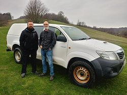 Both of us posing by the 4x4 Toyota Pick-Up Truck at True Grip Off Road Course in Ashford Kent.