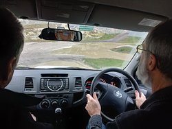 My Work Colleague approaching the next 4x4 challenge at the True Grip Off Road Coarse in Ashford Kent .