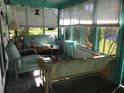 Our 1950's Front Screened Porch at B&B