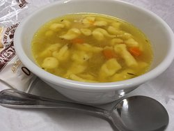 Chef Dan's Scratch made Chicken and Dumpling soup. Available daily.