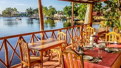 The private breakfast terrace reserved for Casa Tiki guests - with a view over the estuary
