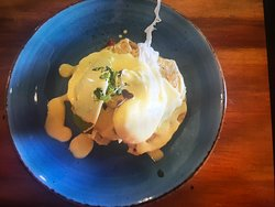Corn fritters, bacon and poached eggs