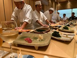 Wonderful staff! So fun to watch them prepare the sushi in front of you.