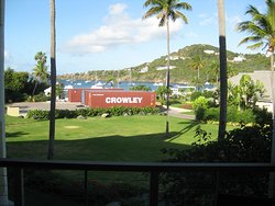 Palm Terrace, view from Coral Vista. Cruz Bay Watersports on beach behind the containers.