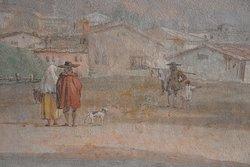 Scena di vita quotidiana dipinta da Giandomenico Tiepolo nell'edificio principale di Villa Valmarana ai Nani