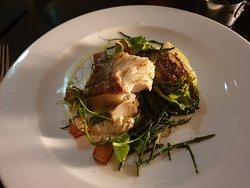 My favourite main course...roasted loin of cod with grilled Little Gem lettuce, samphire, roast potato cubes, and celeriac purée
