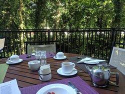 Breakfast on the terrace in the summer