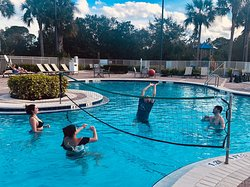 Warm water, great Jacuzzi too, we had fun playing volleyball