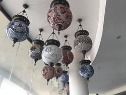 Lebanese decorations embelllish the ceiling