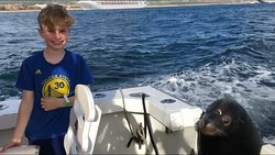 My nephew with the sea lion that hopped aboard.