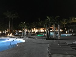 Night at the Senator. Looking towards the lounge/lobby from the opposite side of the pool