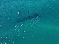 A shipwreck (picture from my seat on the plane).